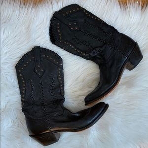 Durango black leather woven studded cowgirl boots
